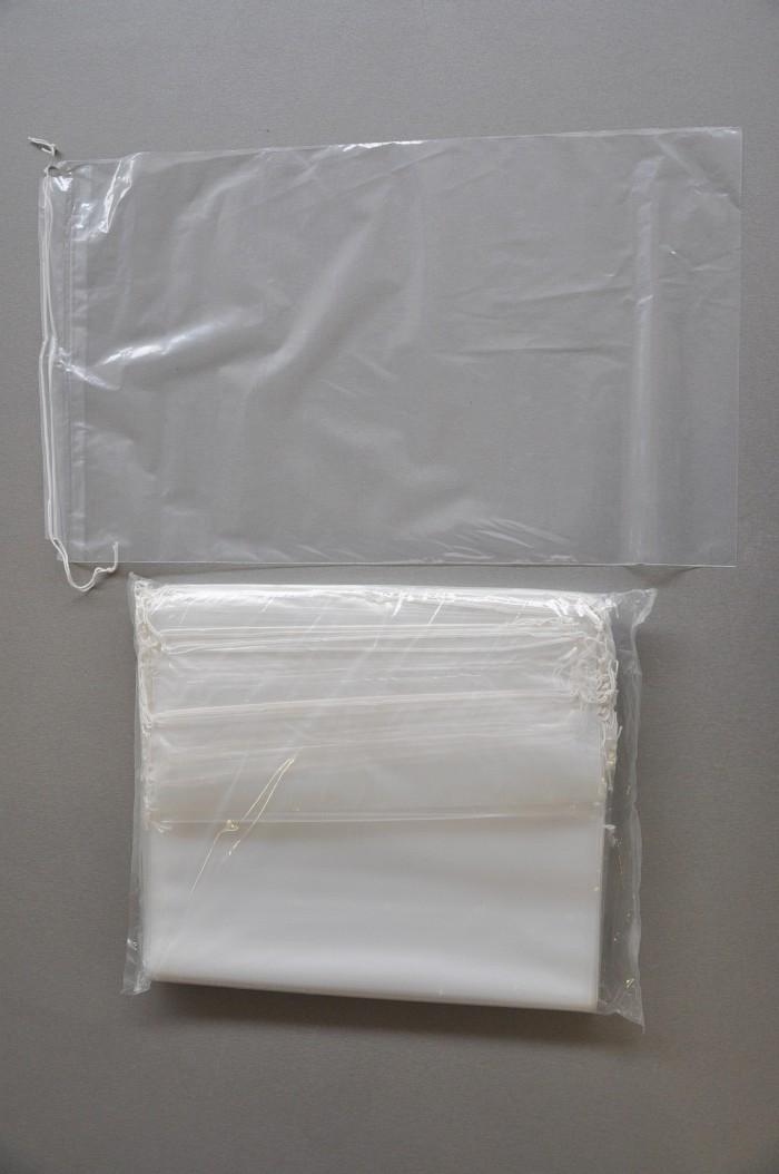 100-Kordelzugbeutel-300x500-mm-weisse-Kordel-transparent-50m-neu-Beutel-Tasche